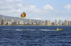 Para-sail and Honolulu Stock Photos