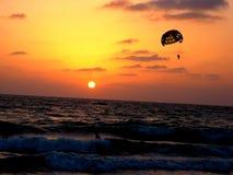 Para-sailing auf Strand am Sonnenuntergang Stockfoto