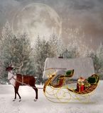 Para Santa Claus que espera y su reno stock de ilustración