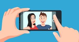Para Selfie Romantyczny jaźń portret, młodzi przyjaciele bierze selfie fotografii kreskówki wektoru ilustrację royalty ilustracja
