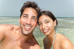 Para Selfie w oceanie Zdjęcie Royalty Free