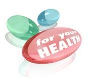 Para seus comprimidos das cápsulas das vitaminas dos suplementos dietéticos à saúde Imagens de Stock