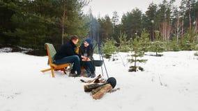 Para siedzi ogniskiem w zima lesie w wygodnych leżankach _ Szczęśliwy zimy pojęcie zdjęcie wideo