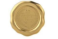 Para siempre sello de la cera del oro del amor ilustración 3D stock de ilustración