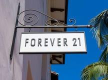 Para siempre tienda 21 y muestra Fotos de archivo libres de regalías