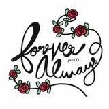 Para siempre y siempre letras de la palabra y ejemplo de las rosas rojas Fotografía de archivo