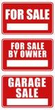 Para sinais da venda e da venda de garagem Imagens de Stock