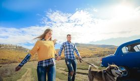 Para spaceru aporteru psa jesieni zmierzchu wsi mienia łąkowe ręki zdjęcie stock