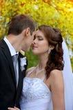 para szczęśliwy ślub Państwa młodzi całowanie w parku Obrazy Stock