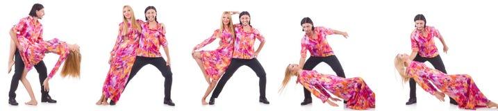 Para taniec odizolowywający na bielu Zdjęcia Stock