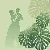 Para taniec w monstera ogródzie tropikalny tło Obrazy Stock