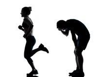 para target659_0_ sprawności fizycznej mężczyzna jeden kobiety trening Obraz Royalty Free