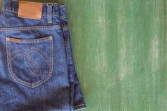 Para trás das calças de brim no espaço do quadro Imagens de Stock Royalty Free