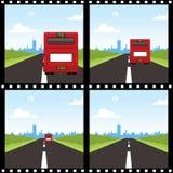 Para trás de um ônibus vermelho Ilustração Stock