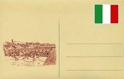 Para trás do postacard do vintage com bandeira italiana e do Ponte Vecchio de Fotos de Stock Royalty Free