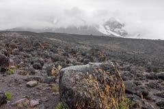 Para trás-país desolado com pedras e rochas, Kilimanjaro Fotos de Stock Royalty Free