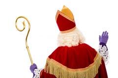 Para trás de Sinterklaas no fundo branco Imagem de Stock Royalty Free