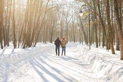 Para trzyma each other& x27; s ręki zima iść na drodze, cieszy się przespacerowanie, miłości para Mąż i żona jesteśmy obraz stock