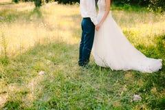 Para trzyma ręki w oliwnym gaju Nowożeńcy w oli Zdjęcia Royalty Free