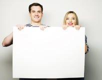 Para trzyma sztandar obraz stock