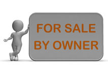 Para a venda pelo proprietário significa a lista da propriedade ou do artigo Foto de Stock Royalty Free