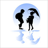 Para w deszczu ilustracji