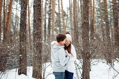 Para w miłości ma zabawę w zimie Fotografia Royalty Free