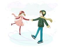 Para w miłości na lodowisku Obraz Royalty Free