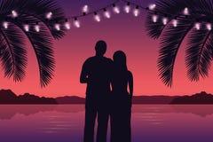 Para w miłości na purpurowej raj palmy plaży z czarodziejskimi światłami ilustracji
