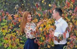 Para w miłości w jesień parku Obrazy Stock