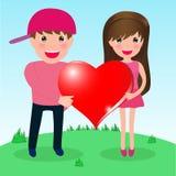 Para w miłości whith dużym sercu Obrazy Stock