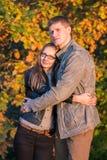 Para w parku przy jesienią Fotografia Stock