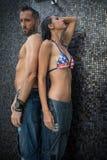 Para w prysznic zdjęcia royalty free