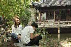 Para w Yu ogródzie w Szanghaj, Chiny obrazy stock