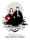 Para wampiry na chmurze nietoperze trzyma czerwonych win szkła ilustracja wektor