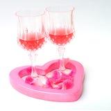 Para wina szkło w kierowym kształcie Zdjęcie Stock