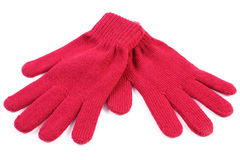 Para woolen rękawiczki dla kobiety na białym tle Zdjęcie Stock
