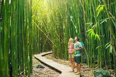 Para wycieczkuje przez bambusowego lasu Fotografia Stock