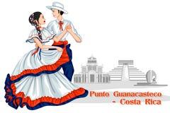 Para wykonuje Punto Guanacasteco Costa Rica royalty ilustracja