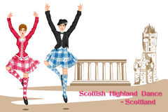 Para wykonuje Szkockiego Górskiego tana Szkocja Zdjęcie Stock