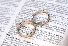 Para złociste obrączki ślubne na słownik stronie ilustracja wektor