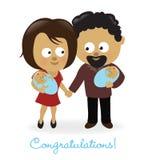 Para z bliźniakami ilustracja wektor