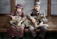 Para z dużym psem na podołkach (Wszystkie persons przedstawiający no są długiego utrzymania i żadny nieruchomość istnieje Dostawc Obrazy Royalty Free