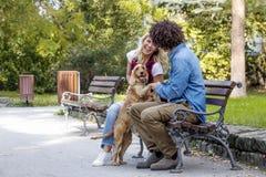 Para z psem w parku obrazy stock