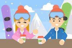 Para z snowboards ilustracji
