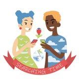 Para z telefonami Wektorowa ilustracja wielokulturowa para w płaskim kreskówka stylu na tle Afrykańska chłopiec i azjata ilustracja wektor