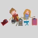 Para z walizkami ilustracji