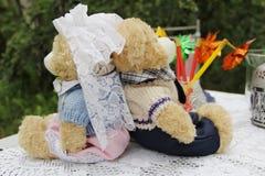 Para zabawkarscy niedźwiedzie w dzień ślubu Zdjęcia Royalty Free