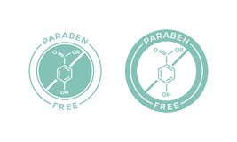 Paraben ελεύθερο εικονίδιο ετικετών skincare καλλυντικό διανυσματικό απεικόνιση αποθεμάτων