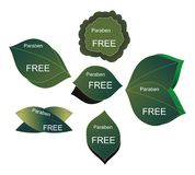 Paraben free emblems. Six leaf shaped signs with paraben free message vector illustration